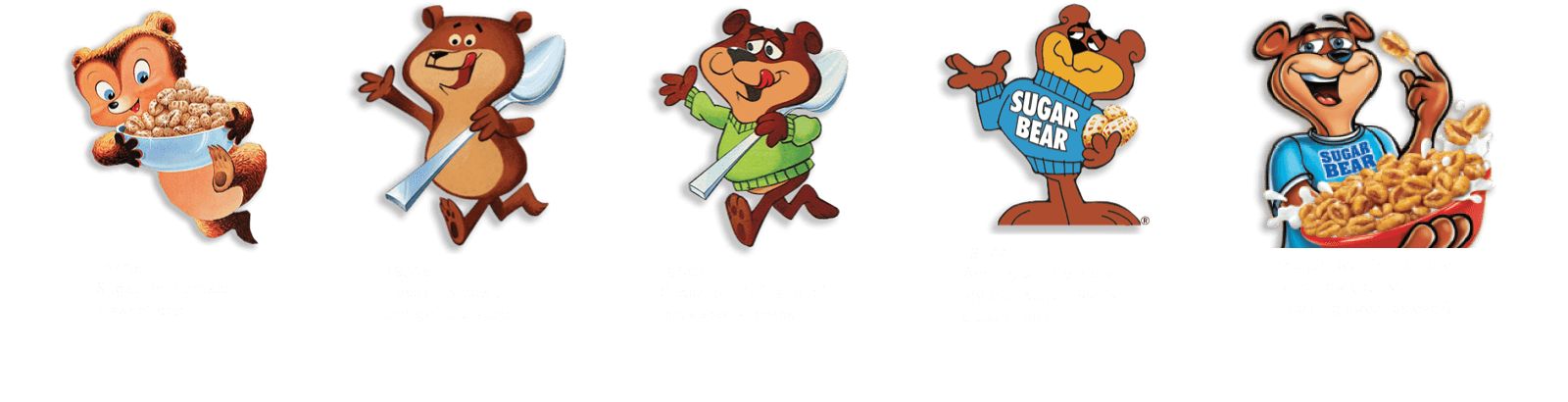 Timeline displaying progression of Sugar Bear character